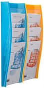 Wandprospekthalter styrodisplay DIN A4 2er Set blau orange