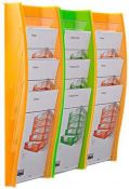 Wandprospekthalter styrodisplay DIN A4 3er Set orange...