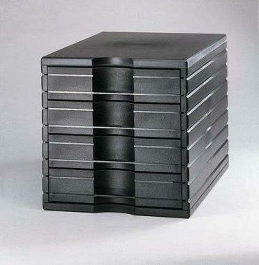 Ablagesysteme styrotop 4 Schubladen schwarz Ablagebox Ablagefach
