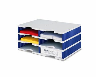 Ablagesysteme strodoc duo 6 Fächer grau-blau Ablagebox Ablagefach