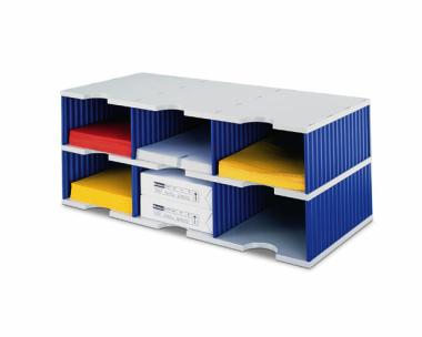 Ablagesysteme Ablagefächer Ablage styrodoc trio Jumbo 6 Sortier Fächer blau