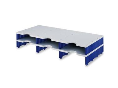 Erweiterungset für styrodoc trio Aufbaueinheit mit 6 Fächer grau-blau