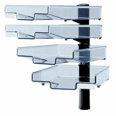 Schwenkflügler, schwarz, mit 4 transparenten Schalen