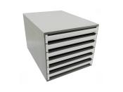 Ablagebox styro Typ 16000 individuell 6 Fächer 27 mm A4 grau weiss