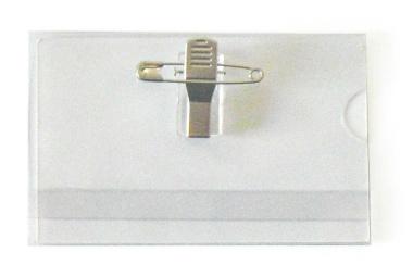 Namenschilder 50Stk. ca.90x55 mm Taschen Clip Sicherheitsn. transparent