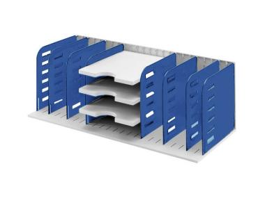 Sortierablage Sortiereinheit mit 8 Trennwänden und 3 Tablare, grau-blau