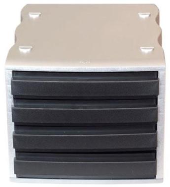 Ablagebox styrowave mit 4 Schub. geschl., silber/schwarz SONDERPOSTEN