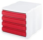 Ablagebox styrowave mit 4 Schub. geschl., weiss rot  SONDERPOSTEN