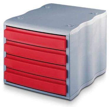 Ablagebox styrowave mit 4 Schub. geschl., grau rot  SONDERPOSTEN