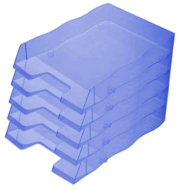 Briefablage homeoffice styrofile C4 blau transparent Ablagebox 5 Stück