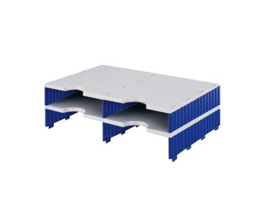 Erweiterungset für styrodoc duo Aufbaueinheit mit 4 Fächer grau-blau