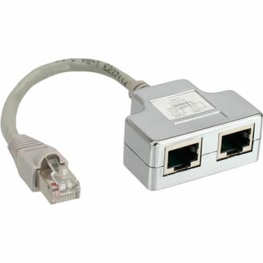 ISDN Port-Doppler, 1x RJ45 Stecker an 2 x RJ45 Buchse, mit Kabel