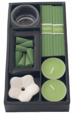 Aromaset Apfel Duftset Räucherstäbchen Räucherkegel Duftkerzen Teelicht