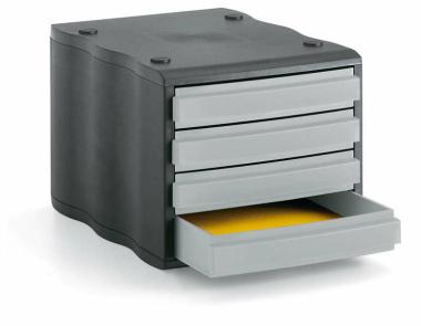 Ablagebox styrowave mit 4 Schub. geschl. schwarz grau