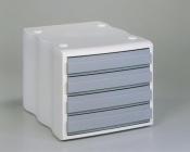 Ablagebox mit 4 Schubladen geschlossen weiß grau SONDERPOSTEN