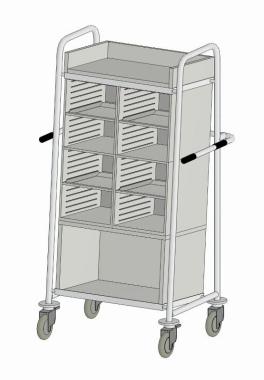 Kommissionierwagen Akten Transportfahrzeug 8 Fächer - Ablage - Paketfach