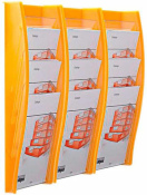 Wandprospekthalter styrodisplay DIN A4 3er Set orange