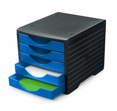 Ablagesystem styrogreen 5 Schub. Schwarz blau Ablagebox Ablagefach