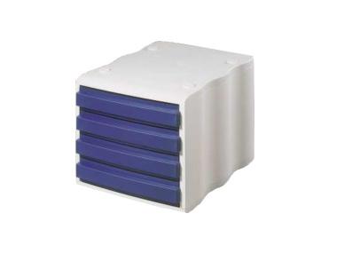 Ablagebox styrowave mit 4 Schub. geschl., weiss/blau SONDERPOSTEN