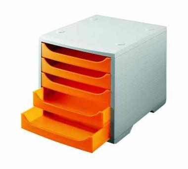 Ablagesysteme 2 Stück styrobox grau orange Ablageboxen