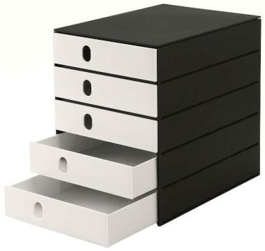 Ablagesysteme 4 Stück styroval 5 Schub. geschl. black & white Ablageboxen