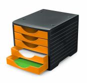 Ablagesysteme 2 Stück styrogreen 5 Schub. schwarz orange Ablagebox Ablagefach