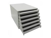Ablageboxen styro Typ 16000 individuell 6 Fächer 27 mm A4 grau - 2 Stück