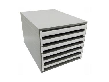 Ablageboxen styro Typ 16000 individuell 6 Fächer 27 mm A4 grau weiss - 2 Stück