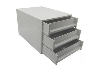 Ablageboxen Typ 16003 individuell 3 Fächer 61 mm A4 grau - 2 Stück