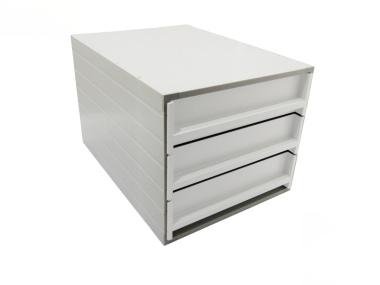 Ablageboxen Box Typ 16003 individuell 3 Fächer 61 mm A4 grau weiss - 2 Stück