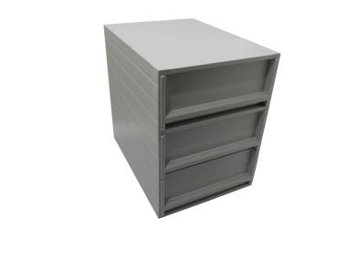 Ablageboxen styro Typ 16005 individuell 3 Fächer 94 mm A4 grau - 2 Stück