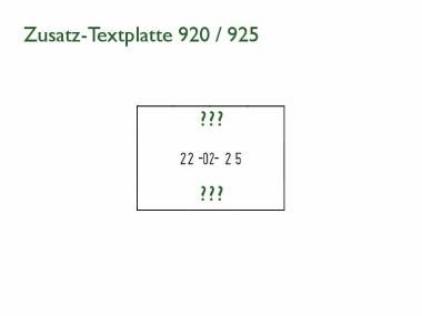 Zusatz-Textplatte für Elektrostempel ChronoDater 920 / 922 / 925 aus Druckguss