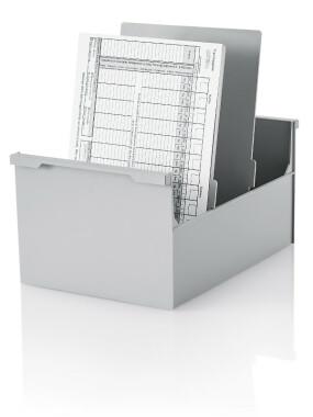 2 Stück Karteikasten DIN A4 hoch, grau