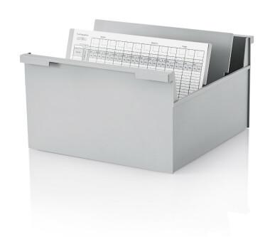 5 Stück Karteikasten DIN A4 quer, grau