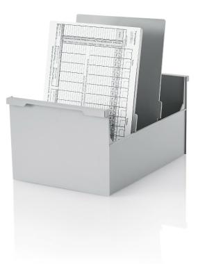 5 Stück Karteikasten DIN A4 hoch, grau