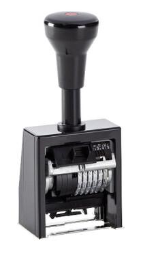 Numeroteur Reiner B6K (Zs 6 | Zg 4,5) mit vorstehenden Nullen | Schriftart: Antiqua | Stempelfarbe: schwarz