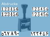 Numeroteur Reiner B6K (Zs 6 | Zg 4,5) ohne vorstehenden Nullen | Schriftart: Antiqua | Stempelfarbe: schwarz