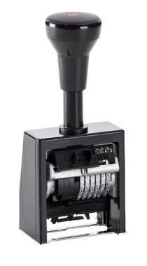 Numeroteur Reiner B6K (Zs 6 | Zg 5,5) mit vorstehenden Nullen | Schriftart: Block | Stempelfarbe: rot