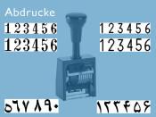 Numeroteur Reiner B6K (Zs 6 | Zg 5,5) mit vorstehenden Nullen | Schriftart: Arabisch | Stempelfarbe: schwarz