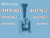 Numeroteur Modell C1 (Zs 7 | Zg 4,5) Schriftart: Antiqua | Stempelfarbe: blau