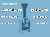Numeroteur Modell C1 (Zs 7 | Zg 4,5) Schriftart: Arabisch | Stempelfarbe: blau