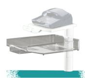 Schwenkarm 5021 lichtgrau, mit transparenter Ablageschale