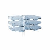 Schwenkflügler, lichtgrau, mit 6 transparenten Schalen