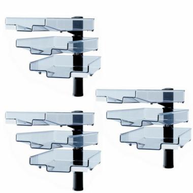 Schwenkflügler 3er-Set, schwarz, mit 3 transparenten Schalen