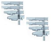 Schwenkflügler 2er-Set, lichtgrau, mit 4 transparenten Schalen