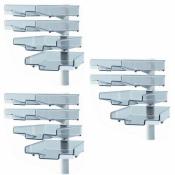 Schwenkflügler 3er-Set, lichtgrau, mit 4 transparenten Schalen