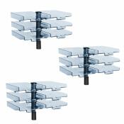 Schwenkflügler 3er-Set, schwarz, mit 6 transparenten Schalen