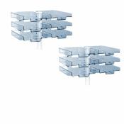 Schwenkflügler 2er-Set, lichtgrau, mit 6 transparenten Schalen
