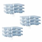 Schwenkflügler 3er-Set, lichtgrau, mit 6 transparenten Schalen