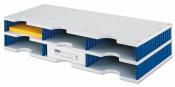 Ablagestystem styrodoc trio Grundeinheit STANDARD mit 6 Fächer grau-blau